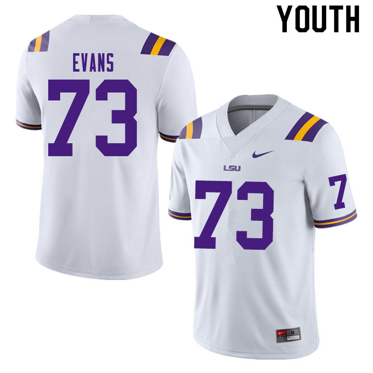 Youth #73 Joseph Evans LSU Tigers College Football Jerseys Sale-White