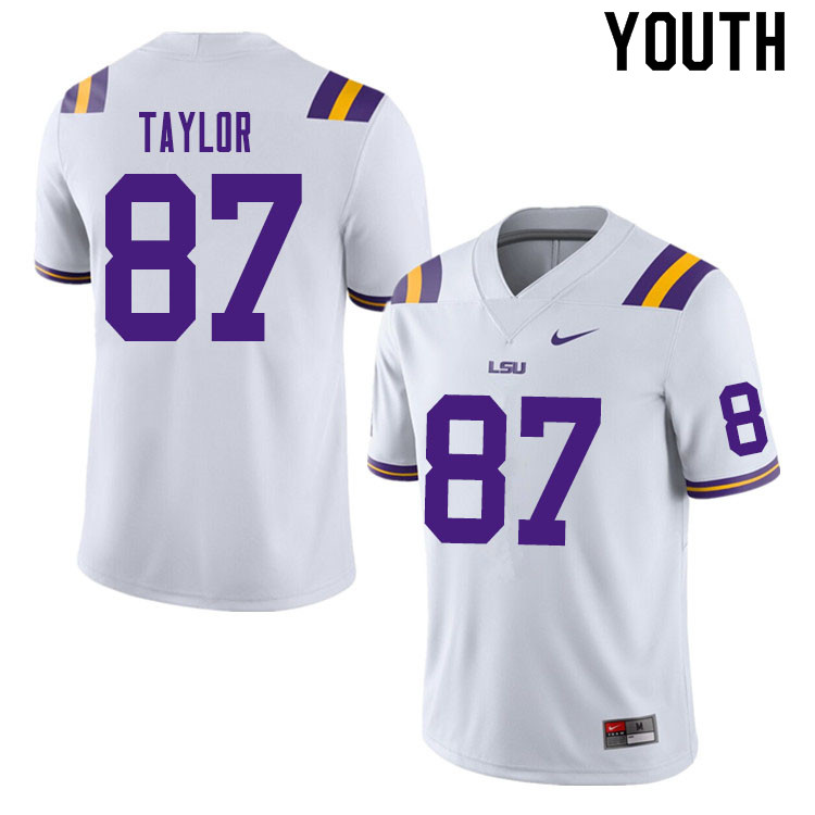Youth #87 Kole Taylor LSU Tigers College Football Jerseys Sale-White