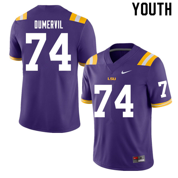 Youth #74 Marcus Dumervil LSU Tigers College Football Jerseys Sale-Purple