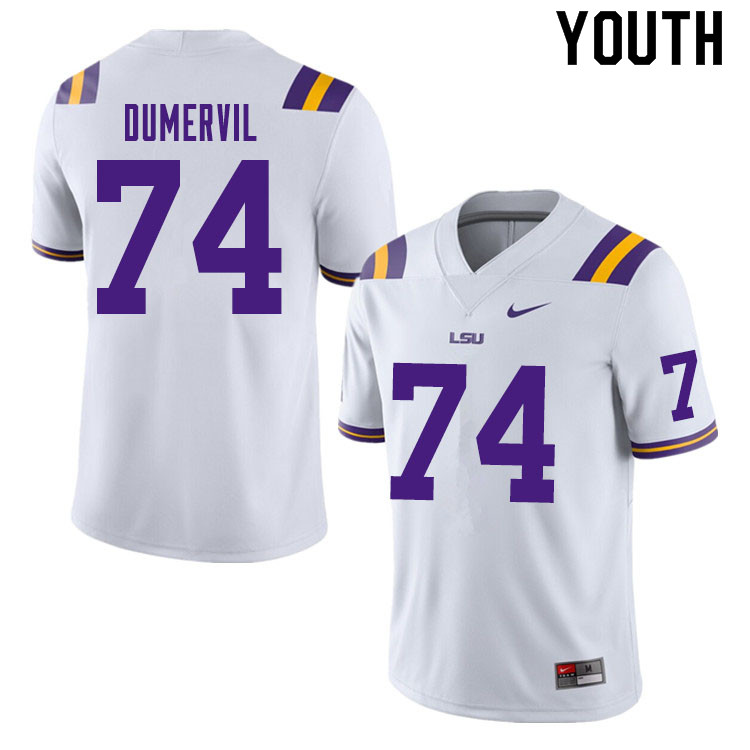 Youth #74 Marcus Dumervil LSU Tigers College Football Jerseys Sale-White