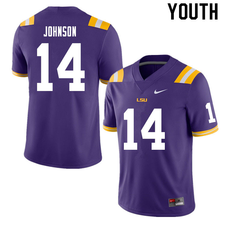 Youth #14 Max Johnson LSU Tigers College Football Jerseys Sale-Purple
