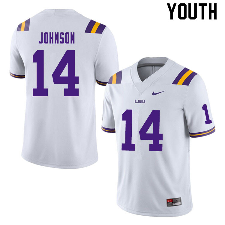Youth #14 Max Johnson LSU Tigers College Football Jerseys Sale-White