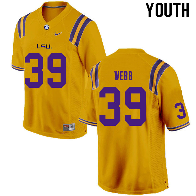 Youth #39 Phillip Webb LSU Tigers College Football Jerseys Sale-Gold