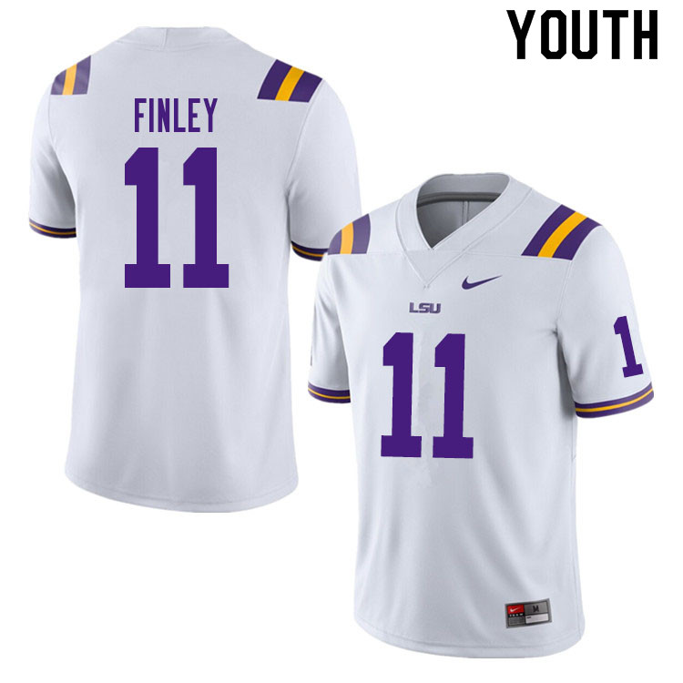 Youth #11 TJ Finley LSU Tigers College Football Jerseys Sale-White