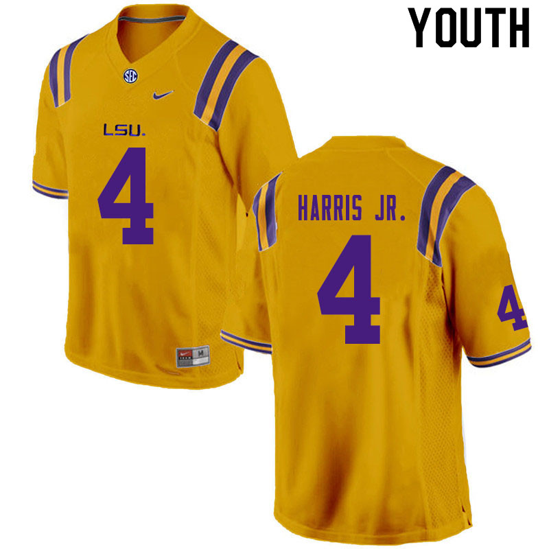 Youth #4 Todd Harris Jr. LSU Tigers College Football Jerseys Sale-Gold