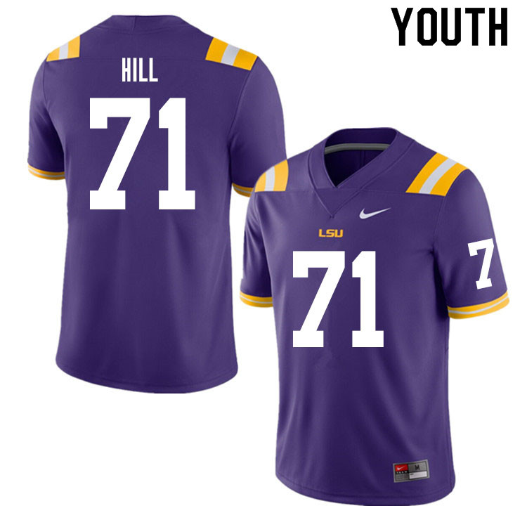 Youth #71 Xavier Hill LSU Tigers College Football Jerseys Sale-Purple