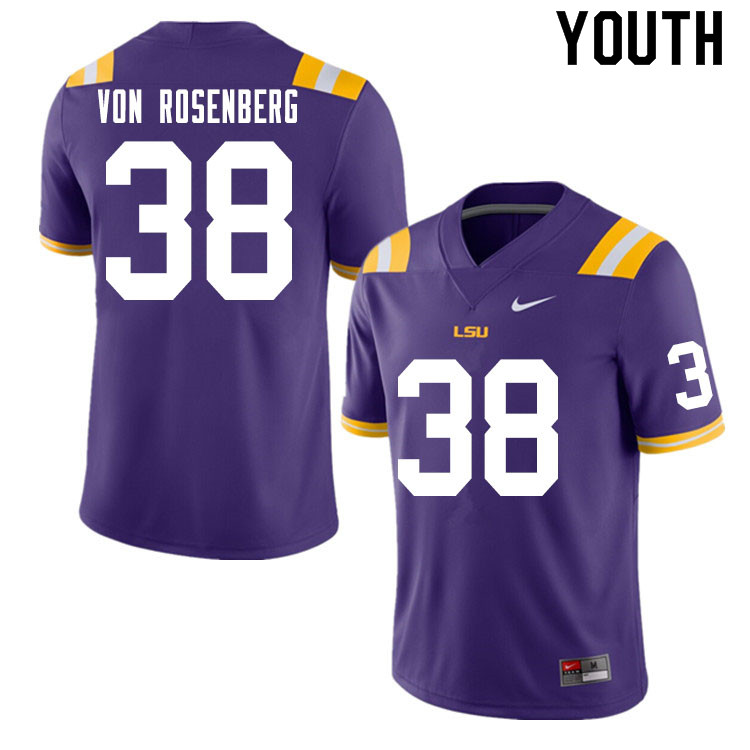 Youth #38 Zach Von Rosenberg LSU Tigers College Football Jerseys Sale-Purple