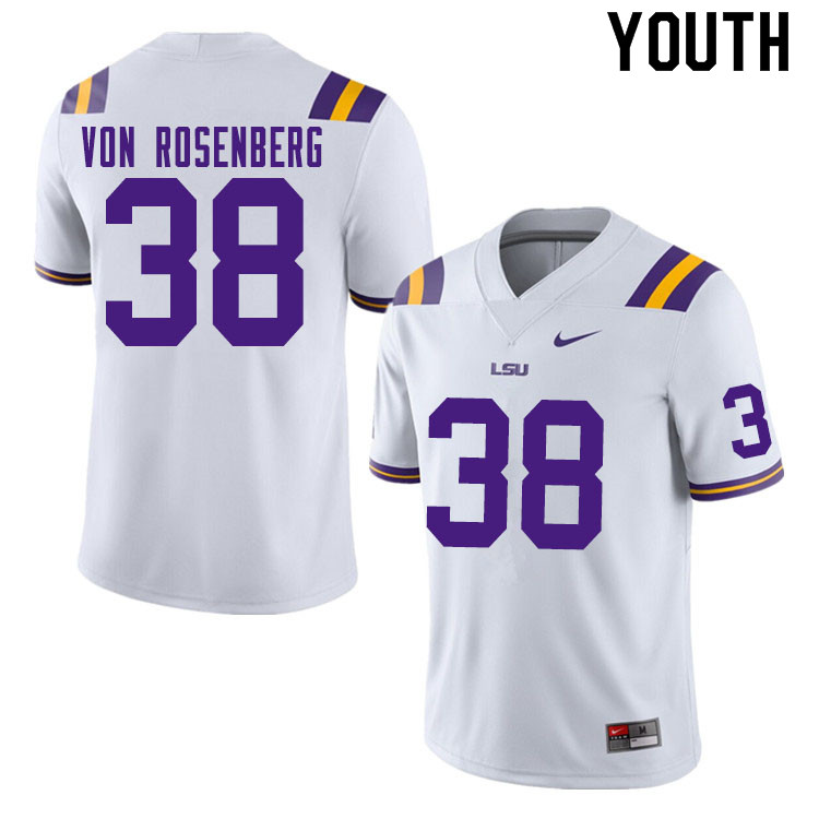 Youth #38 Zach Von Rosenberg LSU Tigers College Football Jerseys Sale-White