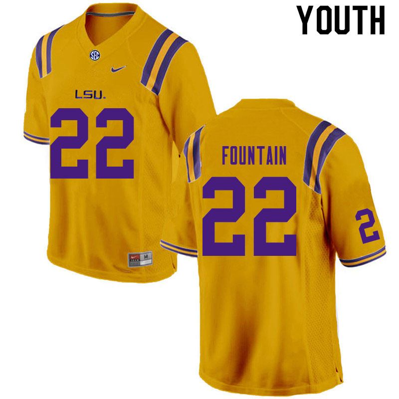 Youth #22 Zaven Fountain LSU Tigers College Football Jerseys Sale-Gold