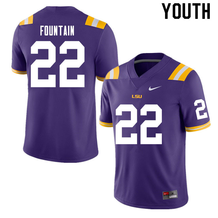 Youth #22 Zaven Fountain LSU Tigers College Football Jerseys Sale-Purple