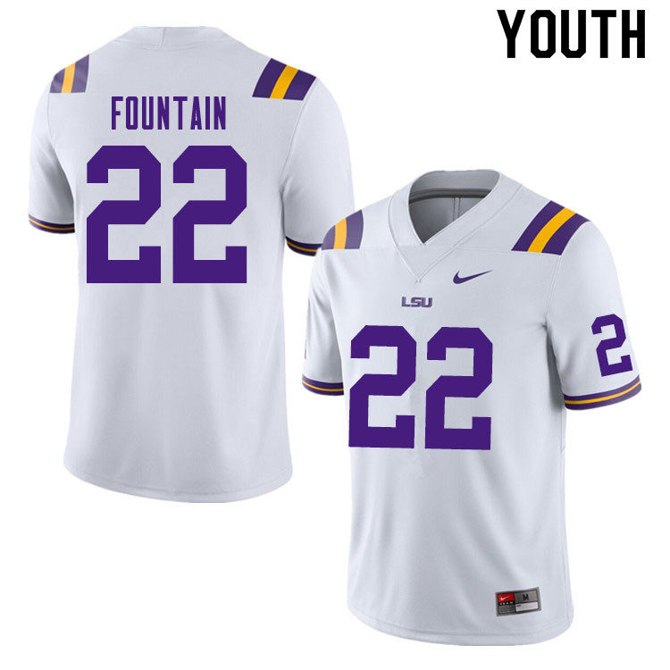 Youth #22 Zaven Fountain LSU Tigers College Football Jerseys Sale-White