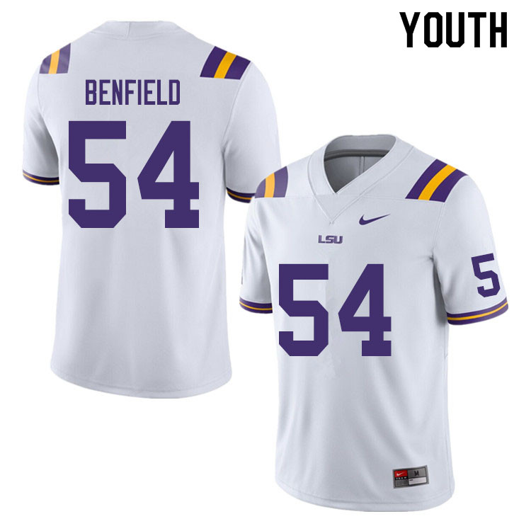 Youth #54 Aaron Benfield LSU Tigers College Football Jerseys Sale-White