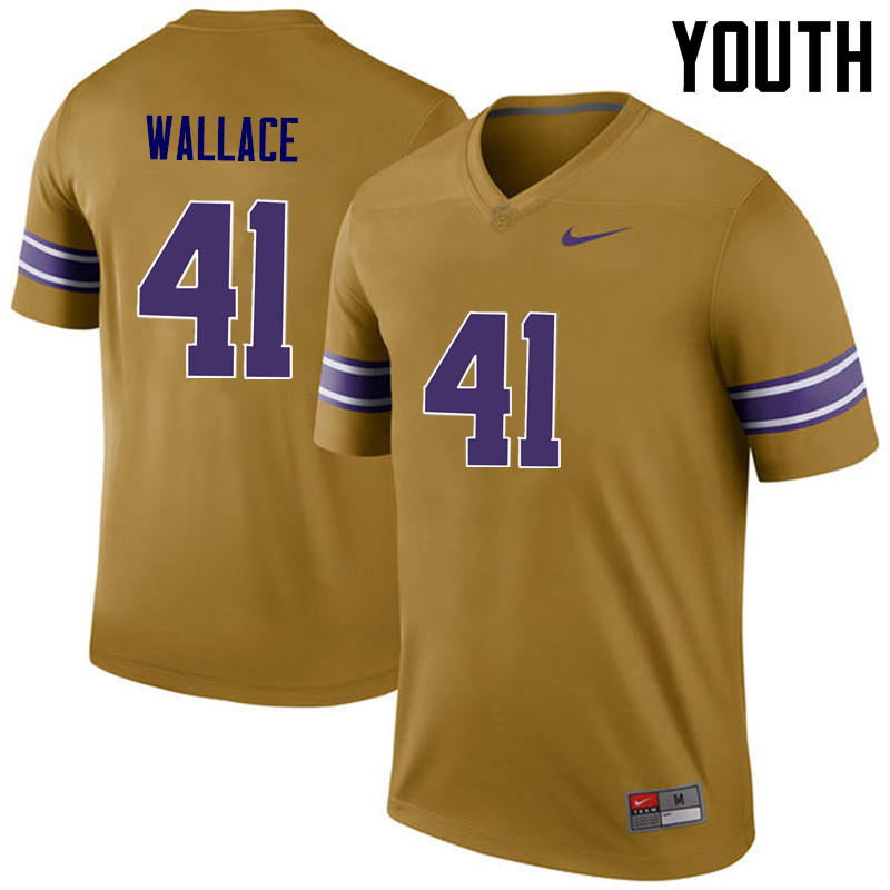 Youth LSU Tigers #41 Abraham Wallace College Football Jerseys Game-Legend