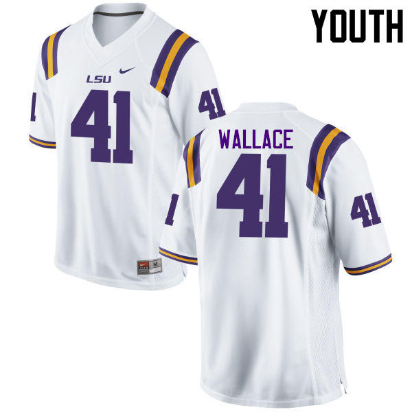 Youth LSU Tigers #41 Abraham Wallace College Football Jerseys Game-White