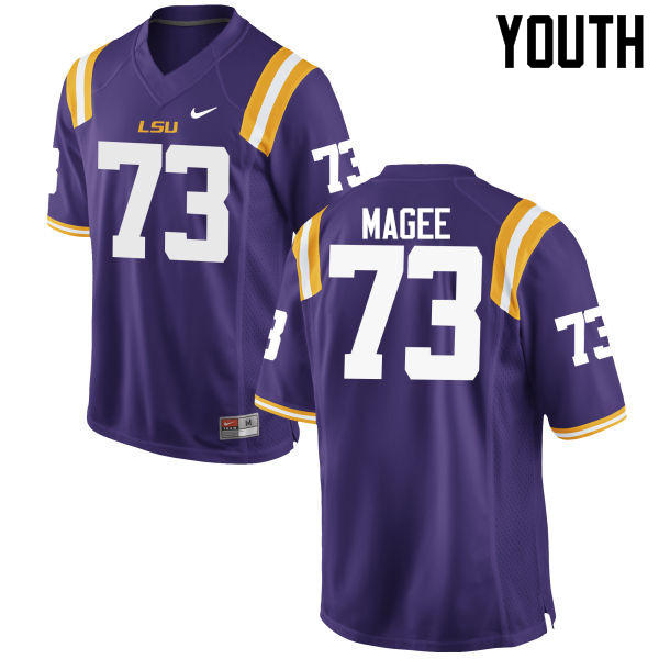 Youth LSU Tigers #73 Adrian Magee College Football Jerseys Game-Purple
