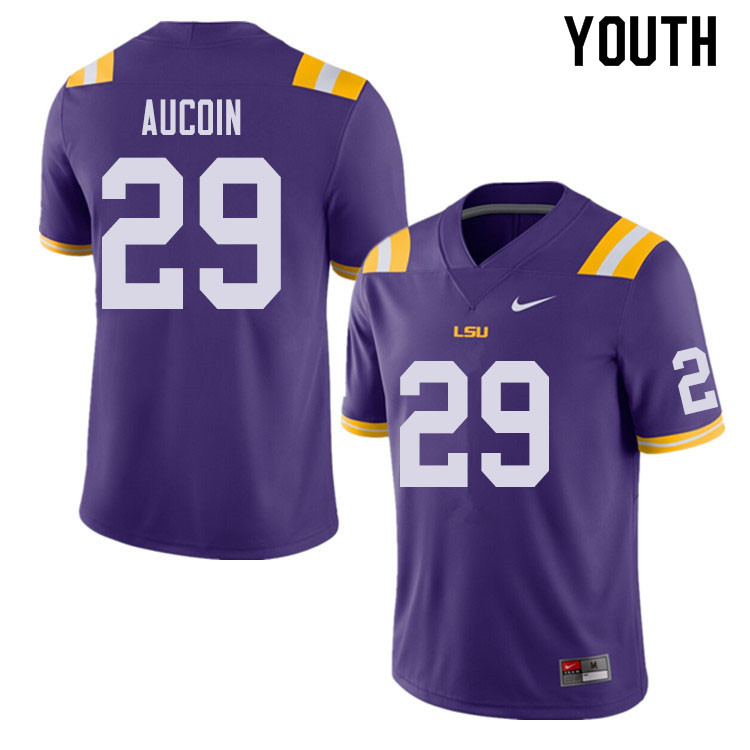 Youth #29 Alex Aucoin LSU Tigers College Football Jerseys Sale-Purple
