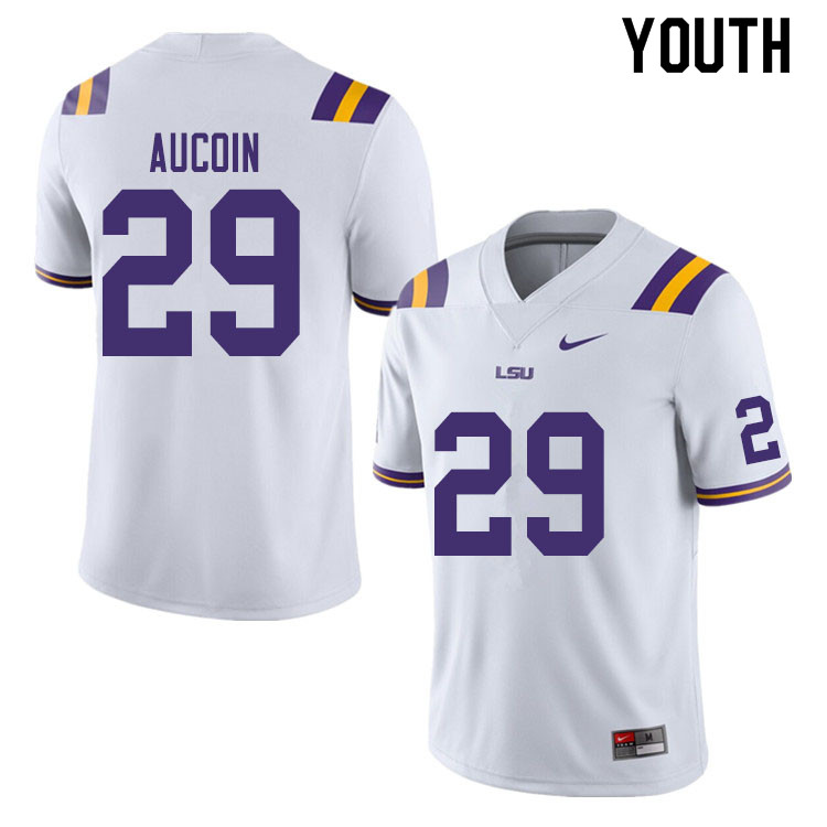Youth #29 Alex Aucoin LSU Tigers College Football Jerseys Sale-White