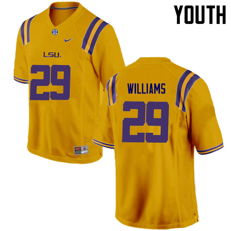 Youth LSU Tigers #29 Andraez Williams College Football Jerseys Game-Gold