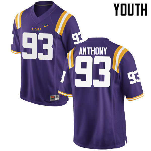 Youth LSU Tigers #93 Andre Anthony College Football Jerseys Game-Purple