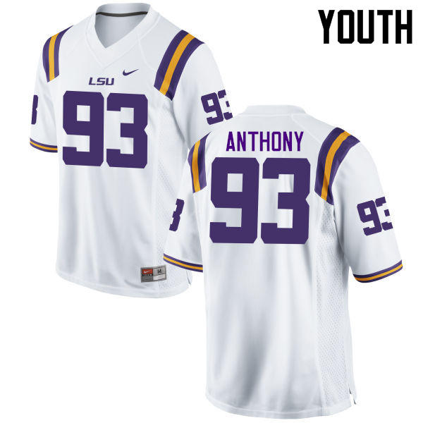 Youth LSU Tigers #93 Andre Anthony College Football Jerseys Game-White
