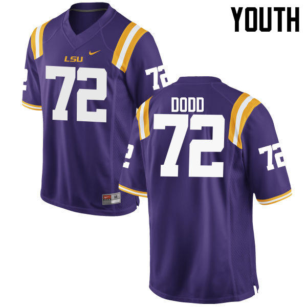 Youth LSU Tigers #72 Andy Dodd College Football Jerseys Game-Purple