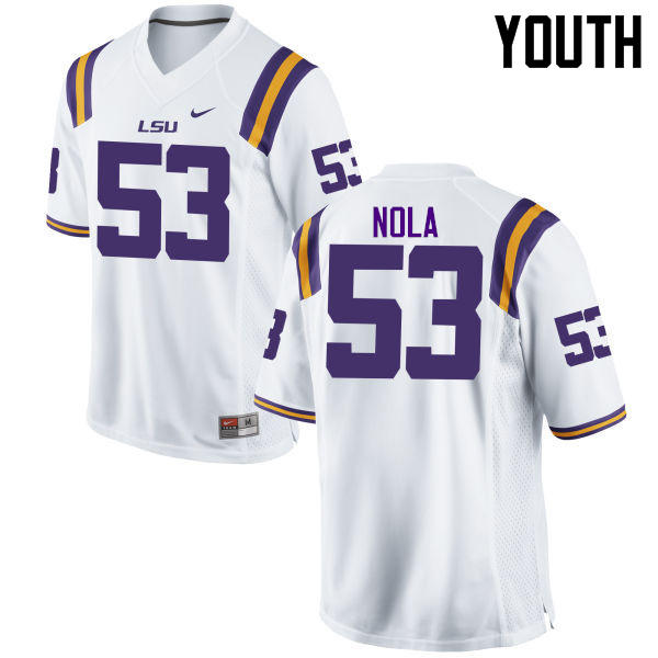 Youth LSU Tigers #53 Ben Nola College Football Jerseys Game-White