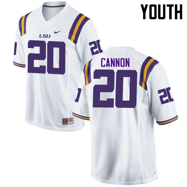 Youth LSU Tigers #20 Billy Cannon College Football Jerseys Game-White