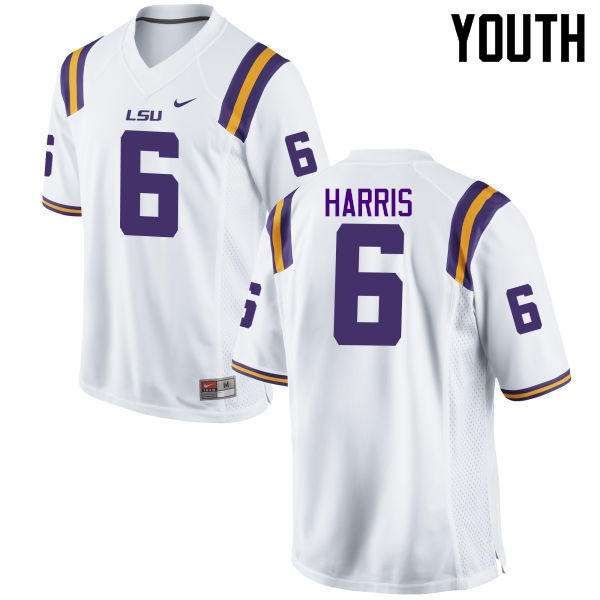 Youth LSU Tigers #6 Brandon Harris College Football Jerseys Game-White