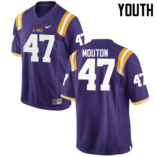 Youth LSU Tigers #47 BryKiethon Mouton College Football Jerseys Game-Purple