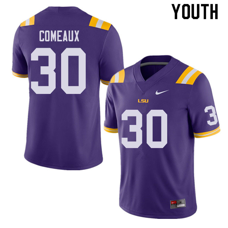 Youth #30 Cade Comeaux LSU Tigers College Football Jerseys Sale-Purple