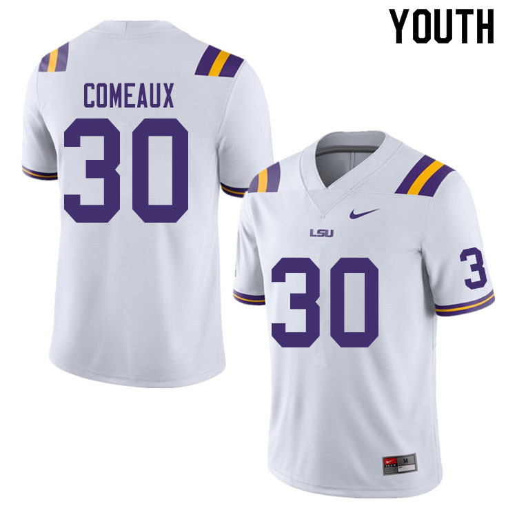 Youth #30 Cade Comeaux LSU Tigers College Football Jerseys Sale-White