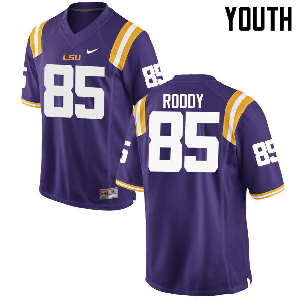 Youth LSU Tigers #85 Caleb Roddy College Football Jerseys Game-Purple