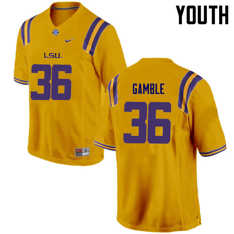 Youth LSU Tigers #36 Cameron Gamble College Football Jerseys Game-Gold