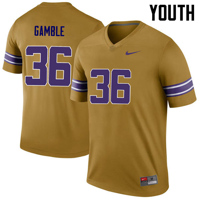 Youth LSU Tigers #36 Cameron Gamble College Football Jerseys Game-Legend