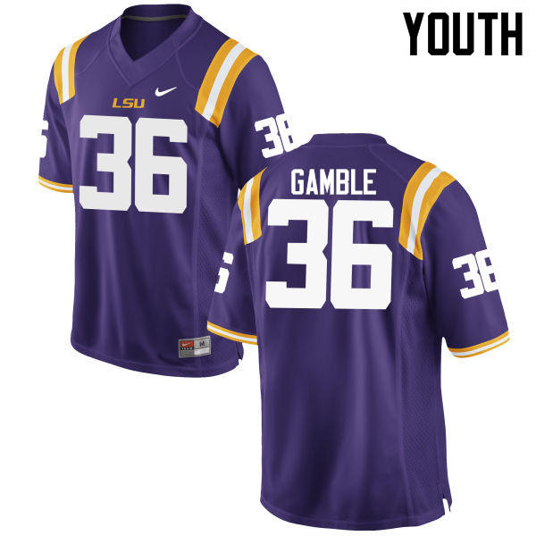 Youth LSU Tigers #36 Cameron Gamble College Football Jerseys Game-Purple