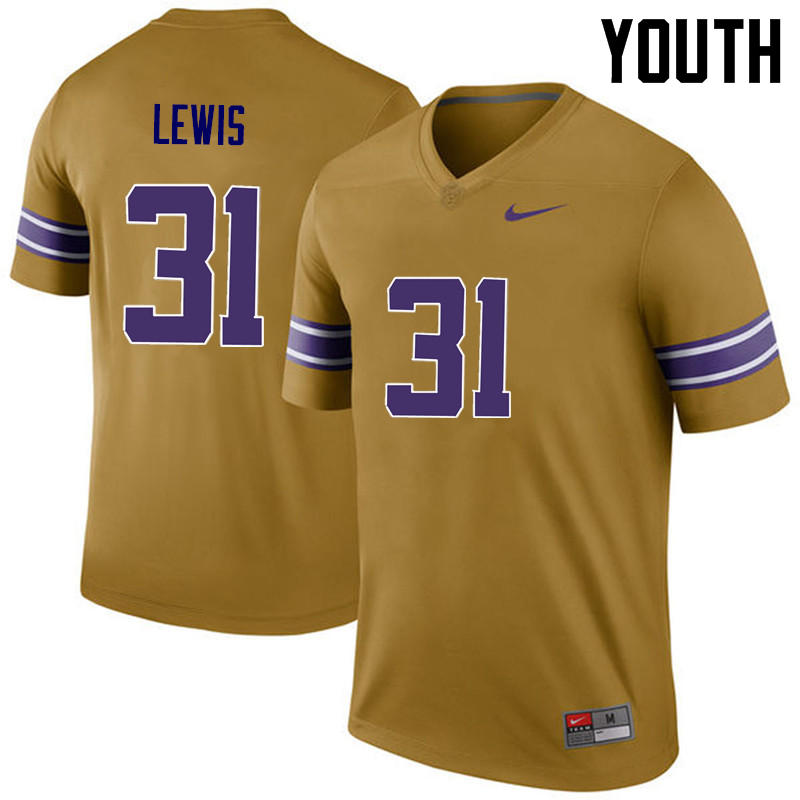 Youth LSU Tigers #31 Cameron Lewis College Football Jerseys Game-Legend