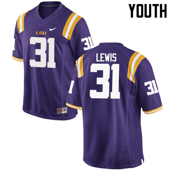 Youth LSU Tigers #31 Cameron Lewis College Football Jerseys Game-Purple