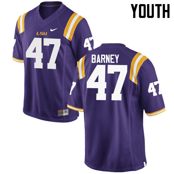 Youth LSU Tigers #47 Chance Barney College Football Jerseys Game-Purple