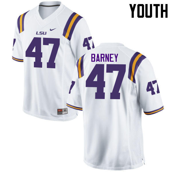 Youth LSU Tigers #47 Chance Barney College Football Jerseys Game-White