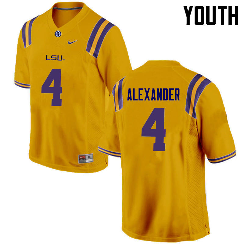 Youth LSU Tigers #4 Charles Alexander College Football Jerseys Game-Gold