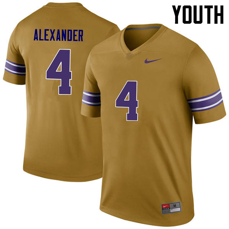 Youth LSU Tigers #4 Charles Alexander College Football Jerseys Game-Legend