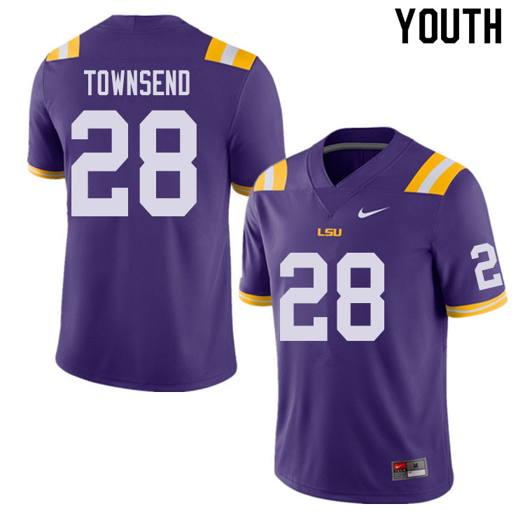 Youth #28 Clyde Townsend LSU Tigers College Football Jerseys Sale-Purple