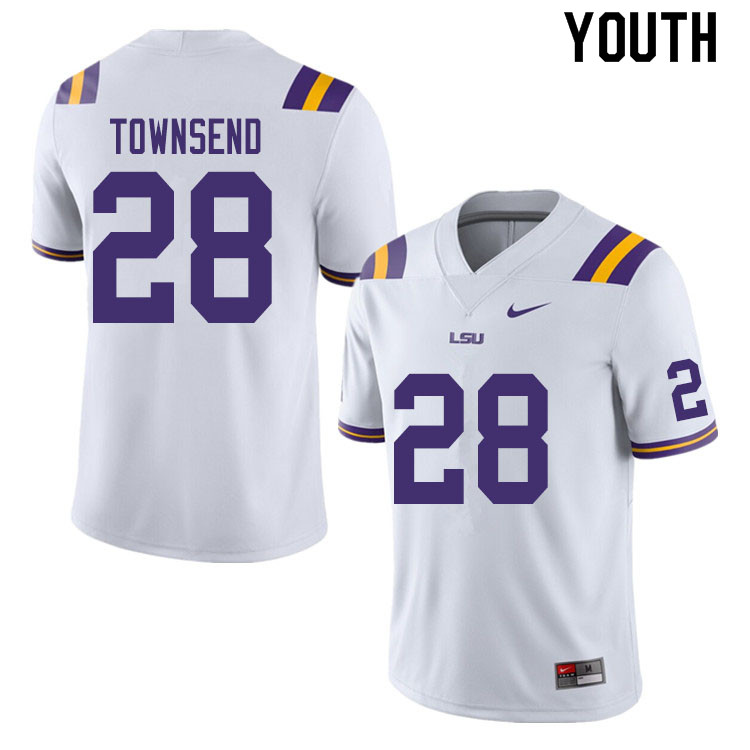 Youth #28 Clyde Townsend LSU Tigers College Football Jerseys Sale-White