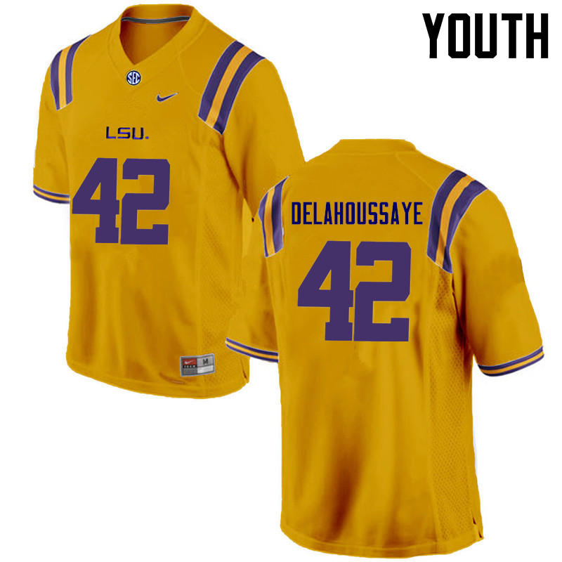 Youth LSU Tigers #42 Colby Delahoussaye College Football Jerseys Game-Gold