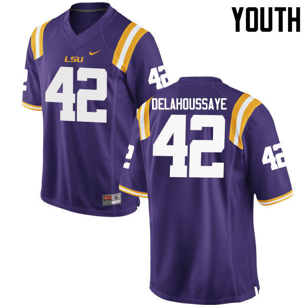 Youth LSU Tigers #42 Colby Delahoussaye College Football Jerseys Game-Purple