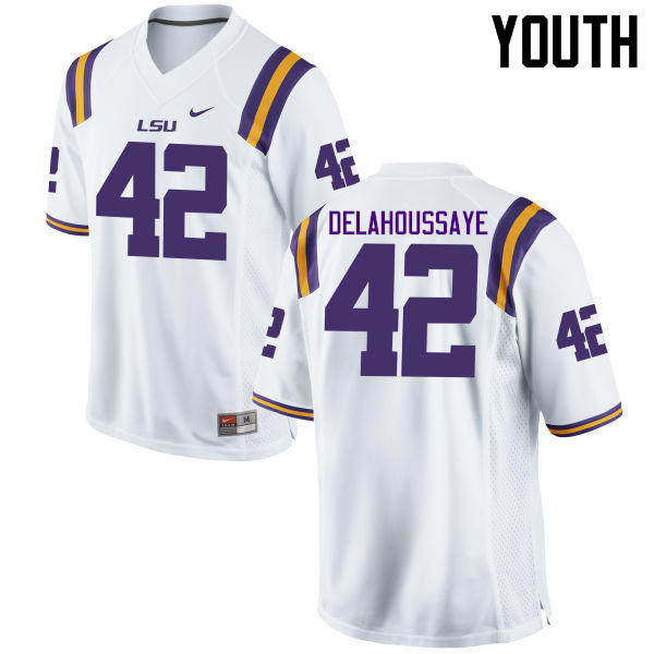 Youth LSU Tigers #42 Colby Delahoussaye College Football Jerseys Game-White