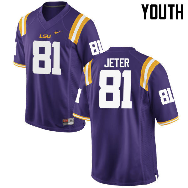 Youth LSU Tigers #81 Colin Jeter College Football Jerseys Game-Purple