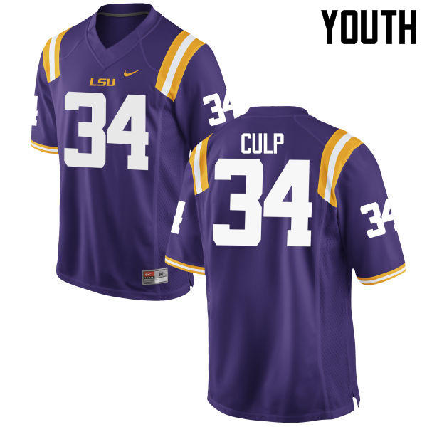 Youth LSU Tigers #34 Connor Culp College Football Jerseys Game-Purple