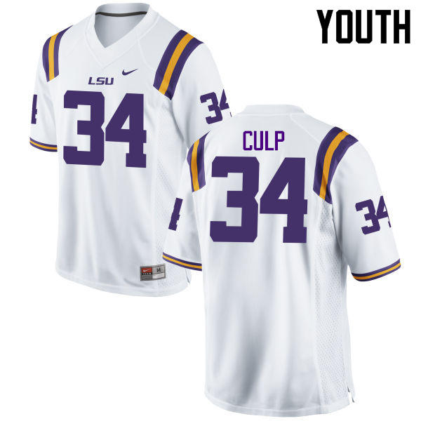 Youth LSU Tigers #34 Connor Culp College Football Jerseys Game-White