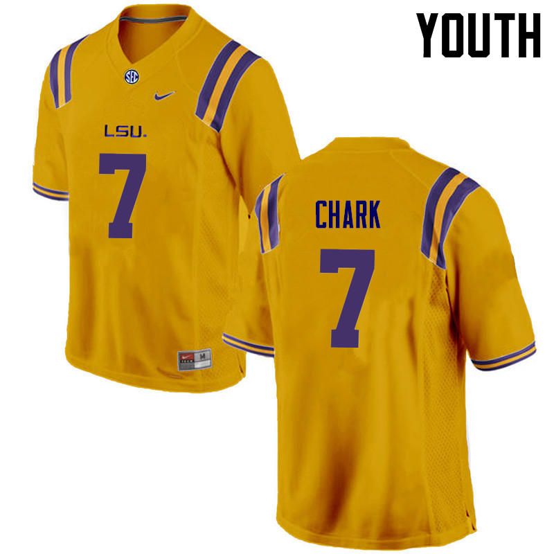 Youth LSU Tigers #7 D.J. Chark College Football Jerseys Game-Gold